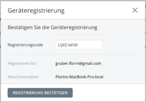 osx backup agent regsiter machien webportal